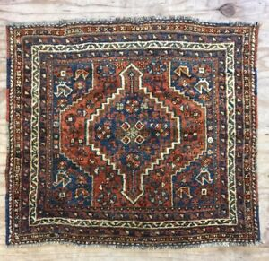Antique Used Old Handmade Per sian Wool Rug Carpet,Shabby Chic,Size:3 By 3.5 Ft