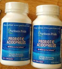 PURITAN PRIDE 2 BOTTLES OFPROBIOTIC ACIDOPHILUS100 MILLION ACTIVE CULTURES 200