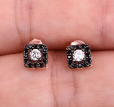 SQUARES ONYX ROSE GOLD COLORED OVER .925 STERLING SILVER EARRINGS #20658