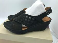 Clarks Artisan Suede Perforated Wedges Clarene Award (1602) Black Size 10W