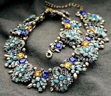 Fashion Pendant Crystal Statement charm chunky Multi-Color collar long Necklace