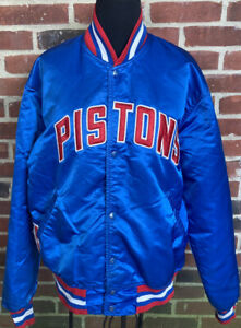 Vintage Detroit Pistons STARTER Bomber Jacket Satin Nylon NBA Bad Boys SZ L VTG