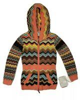 Missoni Medium Full Zip Hooded Sweater womens Multicolor Zig Zag Knit Target