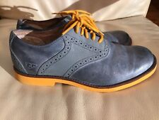 UGG Mens Sz 9 Gray Blue Yellow 1002479 Australian Oxfords Holston Lace-up Shoes