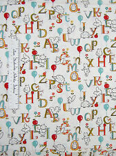 Moda Fabric - Keiki Mind Your Ps & Qs Cream Animal Alphabet Balloon Baby /Yd