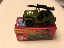 Matchbox Superfast No 38 Armoured Jeep Green & White STAR Label MIB RARE