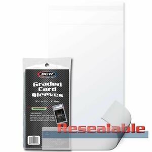 (100) BCW Resealable Graded Card Sleeves Flap for Closure Bags fit PSA BGS Slab