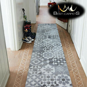 RUNNER HALLWAY MODERN grey MAIOLICA LISBOA CORRIDOR width 50-100cm RUGS Carpets