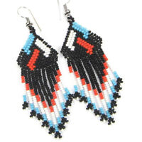 NATIVE STYLE BLACK BLUE HANDCRAFTED BEADED CHANDELIER FASHION EARRINGS