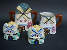 Vintage Ceramic Figural Windmill Cottage Set of Sugar Creamer Salt and Pepper