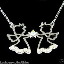 w Swarovski Crystal 2 Little Guardian Angel Girls Cherub Star Charm Necklace New