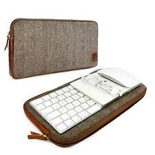 More details for tuff luv herringbone tweed travel case for apple magic keyboard - brown