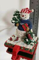 Resin Snowman w/ Present Christmas Stocking Holder Cast Iron Base