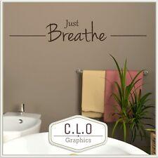 Just Breathe Bathroom Quote Wall Sticker Vinyl Art Large Transfer Bath Decal Uk
