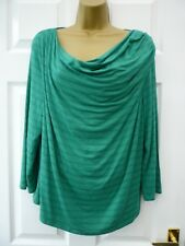 COUNTRY CASUALS Ladies 14 16 Green Striped Draped Asymmetric Stretchy Tunic Top
