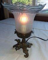 Vintage Cherub Drummer Angel Horn Glass Brass Table Lamp Night Light Electric