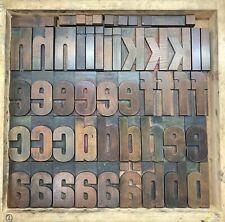 More details for vintage letterpress wooden type 21.5 line lower case alphabet + punctuation