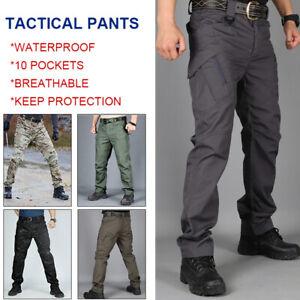 Mens Waterproof Tactical Work Trousers Men Cargo Pants Combat Hiking Outdoor UK