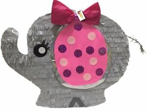 It's a Girl Pink and Gray Baby Elephant Pinata Baby Shower Party Favor