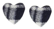 Clips de oreja Corazón Negro Blanco by Ella Jonte Tela Británico Chic Pendientes
