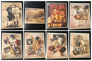 "Vintage MLB 11""x14"" Photo Prints - Lot of 8 - Ruth Aaron Gehrig Cobb Ford HOF"
