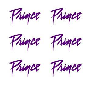 Prince Script Logo Small Vinyl Decals Stickers Set of 6