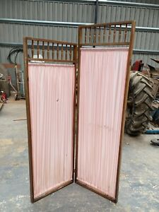 Vintage Brown Wooden Room Divider Screen Pink Fabric Folding