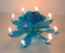 BLUE Amazing Lotus Flower Musical Birthday Candle
