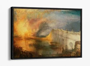 J W M TURNER THE BURNING OF THE HOUSES -FLOAT EFFECT CANVAS WALL ART PIC PRINT-