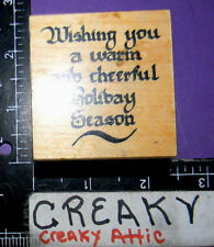 WISHING YOU A WARM CHEERFUL HOLIDAY SEASON RUBBER STAMPS ART IMPRESSIONS