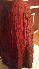 *NEW*  CHICO'S RED BLACK 63% RAYON 34% SILK  MAXI SKIRT SZ 3  16 -18  Rt $128
