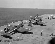Historic Photo Korean War USS Philippine Sea Carrier & Vought F4U-4 Corsair 8x10