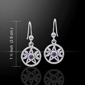 Triple Moon Pentacle Goddess .925 Sterling Silver Earrings by Peter Stone