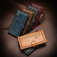 Zipper PU Leder Flip Case HandyHülle Für iPhone 11 Pro Max Samsung Note 10 Plus