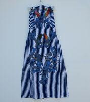 NWT FARM Rio Embroidered Striped Midi in Blue White Tucano Bird Halter Dress XS