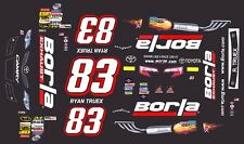 #83 Ryan Truex BORLA Exhaust Toyota 2014 1/64th HO Scale Slot Car Decals