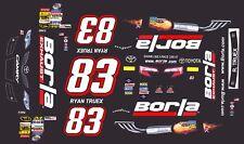 #83 Ryan Truex BORLA Exhaust Toyota 2014 1/64th HO Scale Slot Car Decals