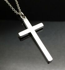 Silver Plain CROSS Pendant Necklace White Gold GP Quality Girls Men Gift SOLID