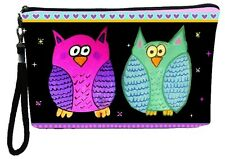 Whimsical Owls Pouch Wristlet with detachable strap - From my orginal Painting