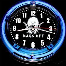 "YOSEMITE SAM - BACK OFF LOGO - 11"" Blue Neon Wall Clock"
