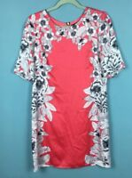 Warehouse Pink Grey Floral Satin Feel Short Sleeve Shift Mini Dress Size 12 -B46