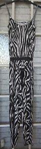 Ladies Black & White Animal Print Jersey Jumpsuit Size 12 F+F