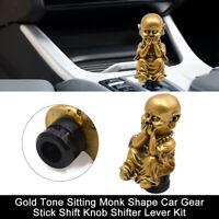 Gold Tone Sitting Monk Shape Car Gear Stick Shift Knob Shifter Lever Kit