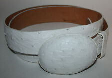 LOS ALTOS Boots White Ostrich Leather Belt & Buckle 38 Western Wear Cowboy Auth