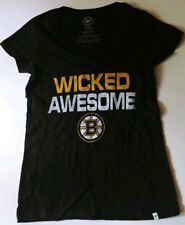 Boston Bruins 47 Brand Women's V-Neck T-Shirt New Wicked Awesome XL