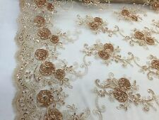 CARAMEL 3D RIBBON FLOWERS EMBROIDER WITH SEQUINS ON A MESH-SOLD BY THE YARD.
