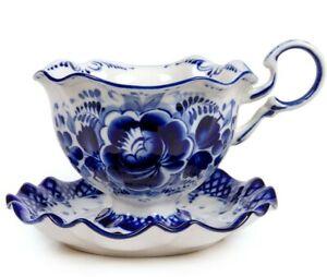 Gzhel Porcelain Teacup and Saucer Set. Russian Handmade, Floral Roses, 180 ml