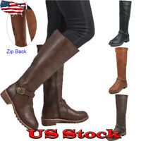 Women's Fashion Round Toe Low Heel Riding Under Knee Winter Boots Shoes Size US