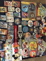 50 Mickey Mouse Walt Disney Collectibles Lot-vintage, Pinback buttons, music box