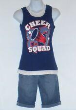 Soul Underground Plus Size Girls Denim Shorts 10 1/2 & Cheer Squad Top L/14-16
